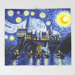Starry Night At Hogwarts Throw Blanket