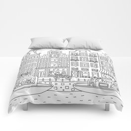 Amsterdam Line Art Comforters