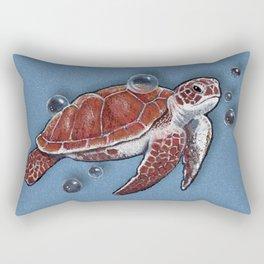 Turtle Swimming, Bubbles, Ocean Blue, Wildlife Art Rectangular Pillow