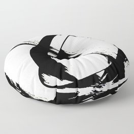 Brushstroke [7]: a minimal, abstract piece in black and white Floor Pillow