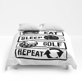 Eat Sleep Golf Repeat - Golf Ball Golf Course Putt Comforters