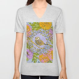 Spring Chickadee in Flowery Woodland Wreath Unisex V-Neck