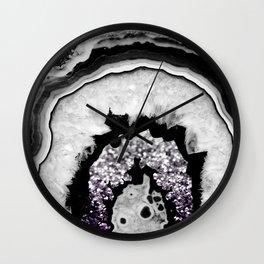 Gray Black White Agate with Purple Black Silver Glitter #1 #gem #decor #art #society6 Wall Clock