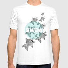 FISH SMALL White Mens Fitted Tee