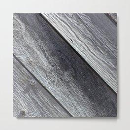 Diagonal Grey Barn Wood Metal Print