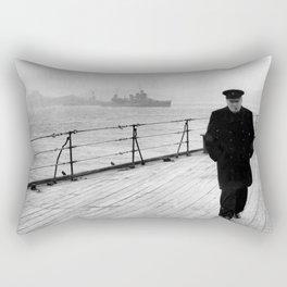 Winston Churchill At Sea Rectangular Pillow