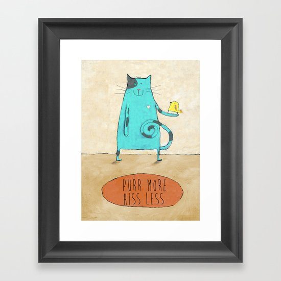 Purr More Hiss Less Framed Art Print
