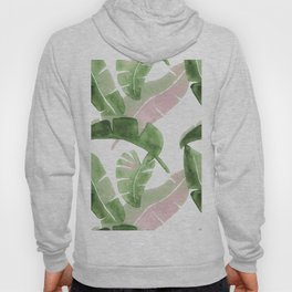 Tropical Leaves Green And Pink Hoody