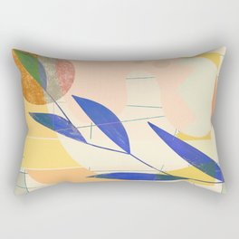 Shapes and Layers no.9 - Leaves and Grid Rectangular Pillow