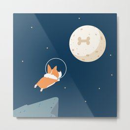 Fly to the moon _ navy blue version Metal Print