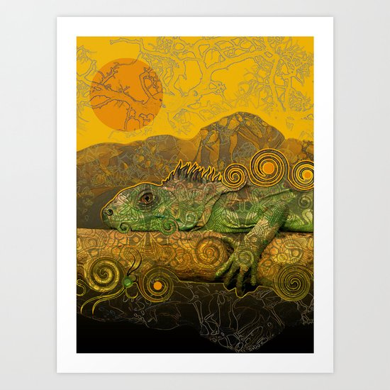 Just Chilling and Dreaming...(Lizard) Art Print