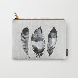 Monochrome bohemian feather set black-white boho watercolor animal illustration boho home wall decor Carry-All Pouch