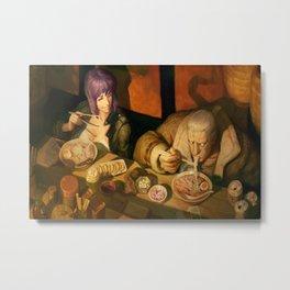 digital artwork Ghost in the Shell androids eating Asian Kusanagi Motoko manga movie characters anime Wojtek Fus Batou high angle Metal Print
