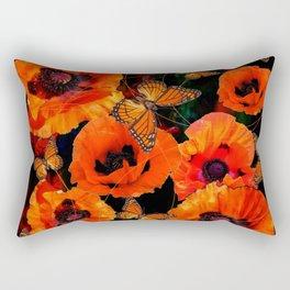 ORANGE MONARCH BUTTERFLIES POPPY GARDEN ART Rectangular Pillow