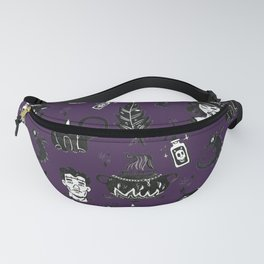 Purple Witches, Cauldron and Cats Pattern Fanny Pack