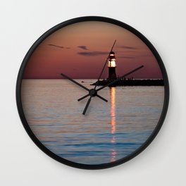 Lighthouse at the Blue Hour Wall Clock