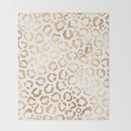 Elegant Gold White Leopard Cheetah Animal Print Throw Blanket