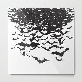 Halloween Bat Black and White Pattern Metal Print