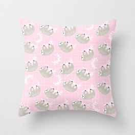 Cute Sloth Print on Pink Background Throw Pillow