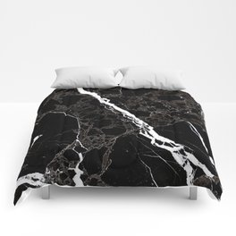 Abstract black white gray modern marble Comforters