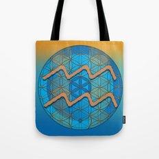 Flower of Life AQUARIUS Astrology Design Tote Bag