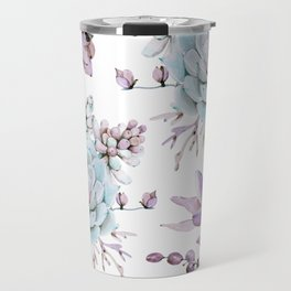 Turquoise and Violet Succulents Travel Mug