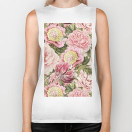 Vintage & Shabby Chic Floral Peony & Lily Flowers Watercolor Pattern Biker Tank