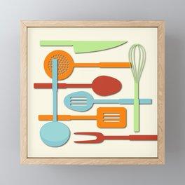 Kitchen Colored Utensil Silhouettes on Cream III Framed Mini Art Print