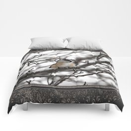 Winter Windblown Black-Capped Chickadee Comforters