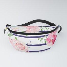 Pink Floral & Navy Stripes Fanny Pack
