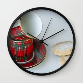 Tartan Coffee Cups & Scottish Shortbread Wall Clock