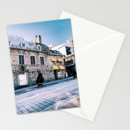 Photograph of Empty Old Montreal on a Clear Winter's Day | Cobblestones and Sunshine in Old Port Stationery Cards