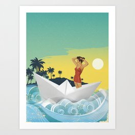 Girl in Boat Collage Art Print