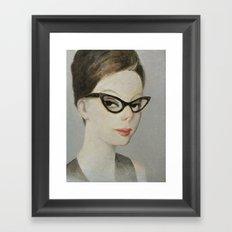 Young woman wearing retro cat eye glasses Framed Art Print