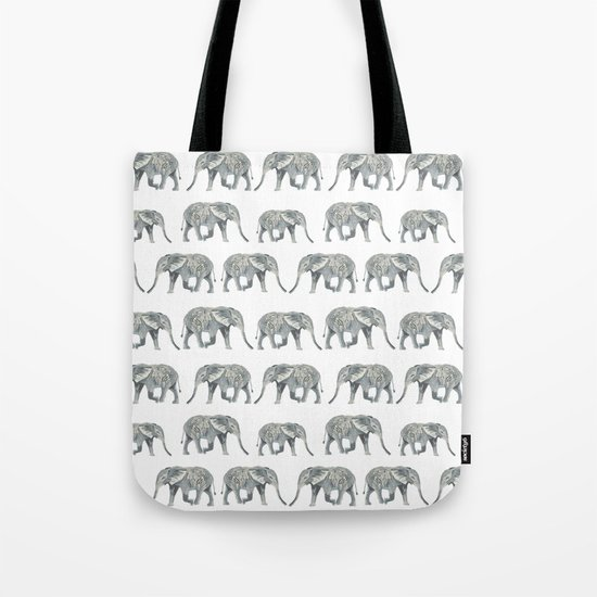Elephant nature safari tropical painting watercolor nature pattern  Tote Bag
