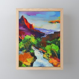 ZION - The Watchman and the Virgin River Framed Mini Art Print