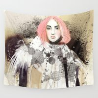 fashion illustration Wall Tapestries featuring FASHION ILLUSTRATION 13 by Justyna Kucharska