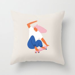 Skateboard girl Throw Pillow
