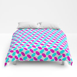 Inverted Pink & Light Blue Diamonds Comforters