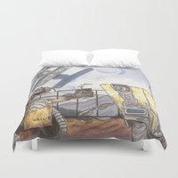 borderlands Duvet Covers featuring WALL-E & CL4P-TP by JadeJonesArt