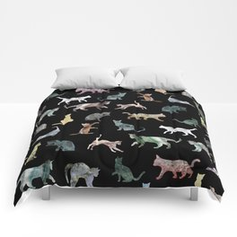 Cats shaped Marble - Black Comforters