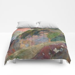 The Flageolet Player on the Cliff by Paul Gauguin Comforters