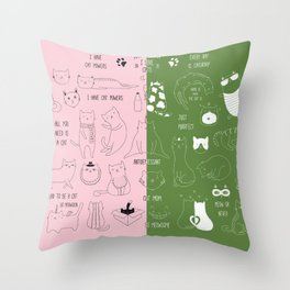 Cute Cat Doodles on pink and green Throw Pillow