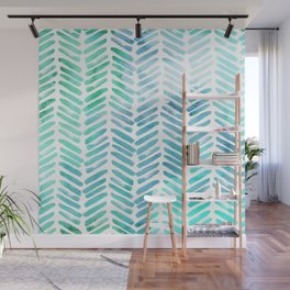 Handpainted Chevron pattern - light green and aqua - stripes Wall Mural