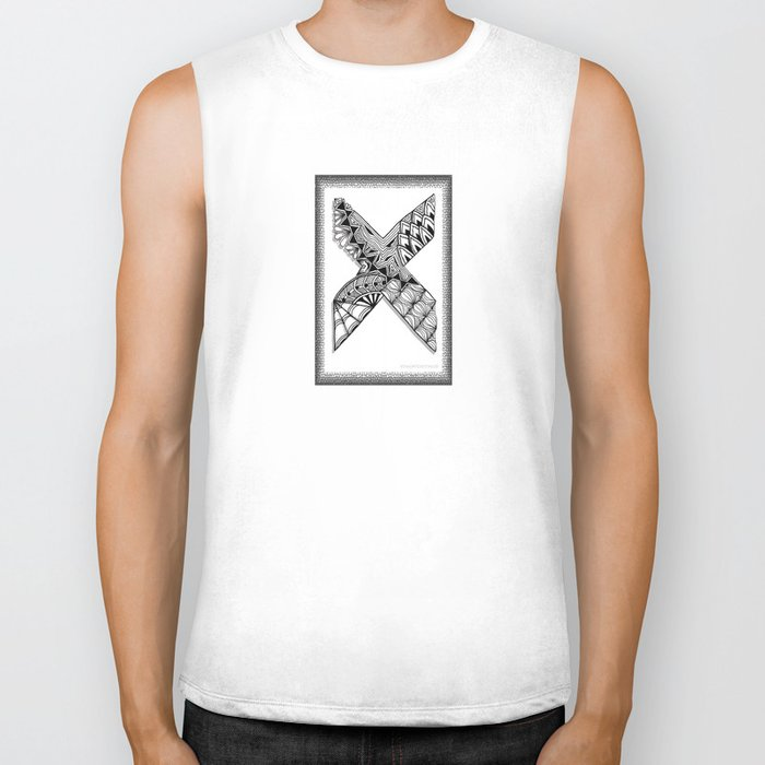 Zentangle X Monogram Alphabet Initial Biker Tank