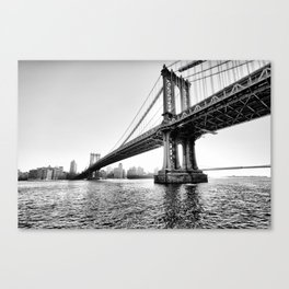 New York Bridge in Black and White Canvas Print
