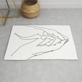 4 elements air male female hands line art black white modern contemporary art illustration Rug