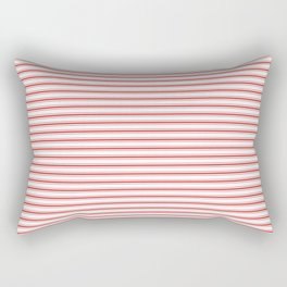 Mattress Ticking Narrow Striped Pattern in Red and White Rectangular Pillow