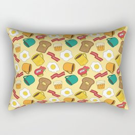 Doodle breakfast: toasts, jam, juice, coffee, bacon, eggs on a yellow background Rectangular Pillow