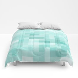 geometric square pixel pattern abstract in green Comforters